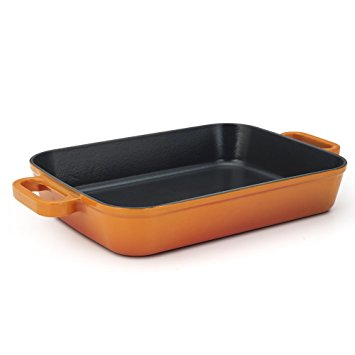 Essence Chambery Cast Iron 11.8-Inch Orange Lasagna Pan